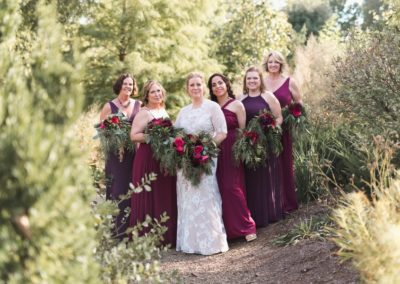 Bridal party portrait in the garden
