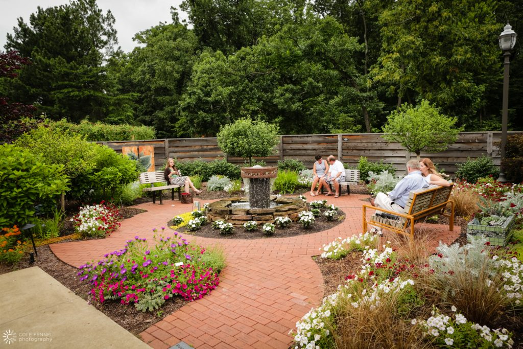 A fountain, designed by Chandler Harp, is the central feature of the Founders' Garden, surrounded by engraved bricks. The bricks honor donors to the garden, ...