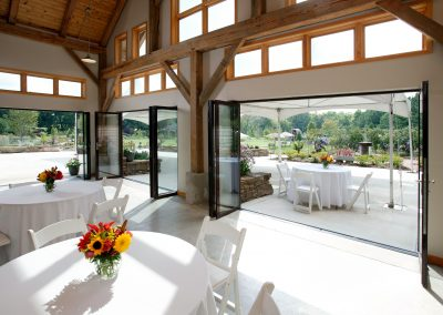 The Event Hall's glass doors offer a panoramic view of the garden year-round