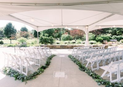 A summer wedding ceremony on the upper terrace
