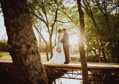 A wedding portrait taken on the boardwalk