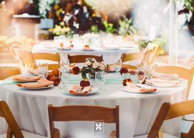 A fall wedding reception on the terrace
